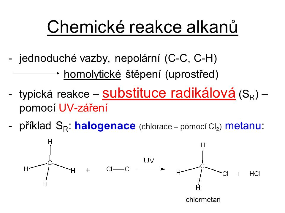 Chemické reakce alkanů