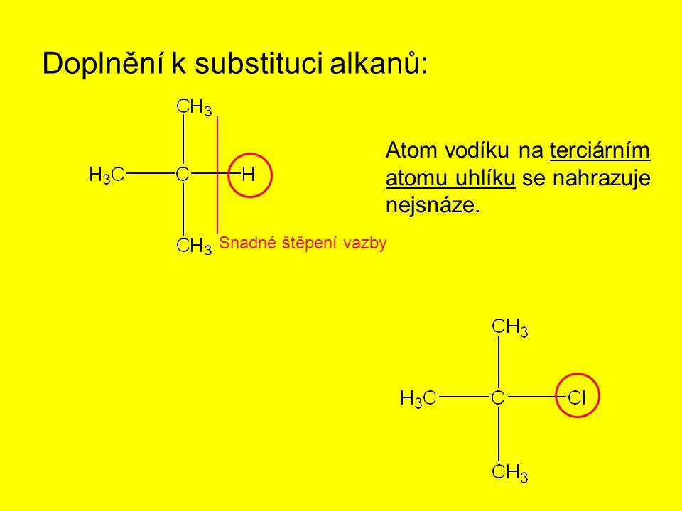 Doplnění k substituci alkanů: