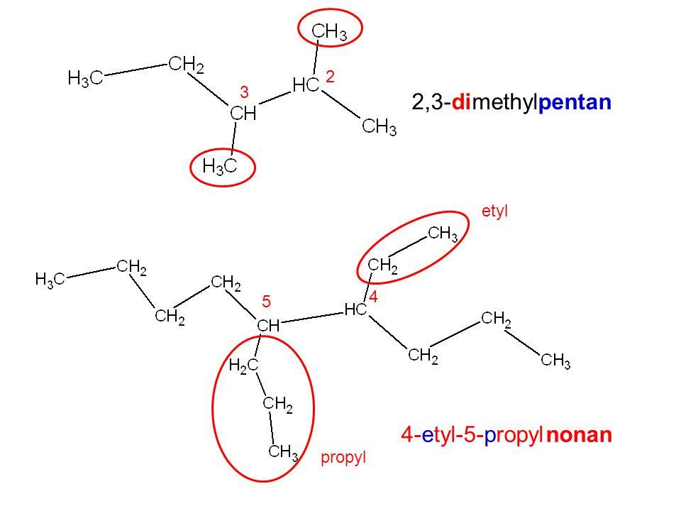 2 3 2,3-dimethylpentan etyl 4 5 4-etyl-5-propyl nonan propyl