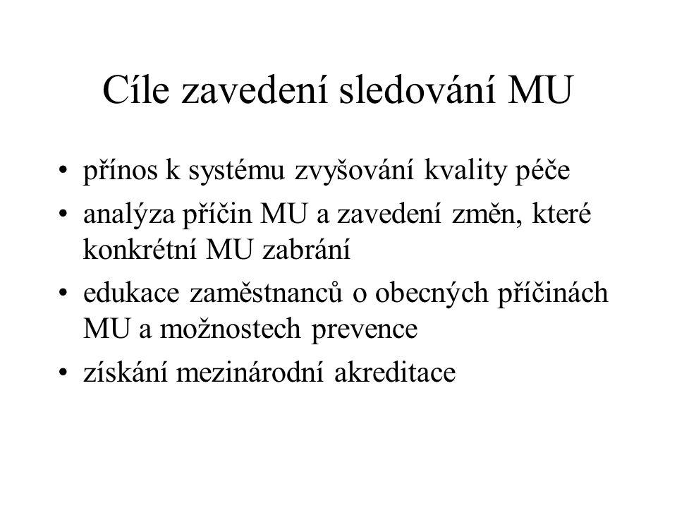 Cíle zavedení sledování MU