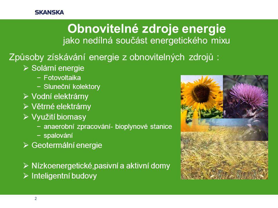 Obnovitelné zdroje energie jako nedílná součást energetického mixu