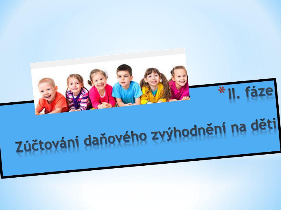 II. fáze Zúčtování daňového zvýhodnění na děti