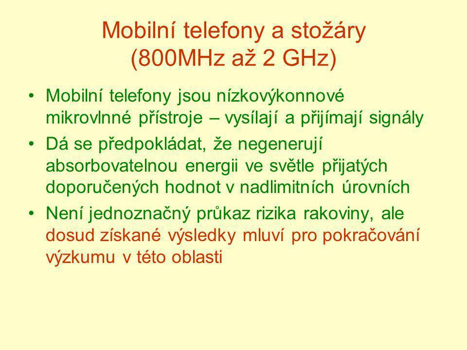 Mobilní telefony a stožáry (800MHz až 2 GHz)