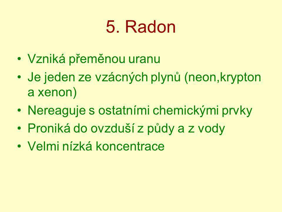 5. Radon Vzniká přeměnou uranu