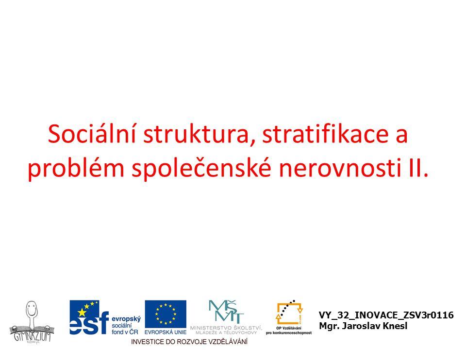 Sociální struktura, stratifikace a problém společenské nerovnosti II.