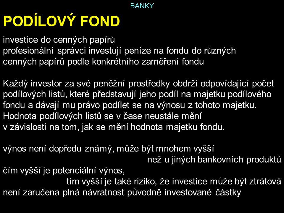 PODÍLOVÝ FOND investice do cenných papírů