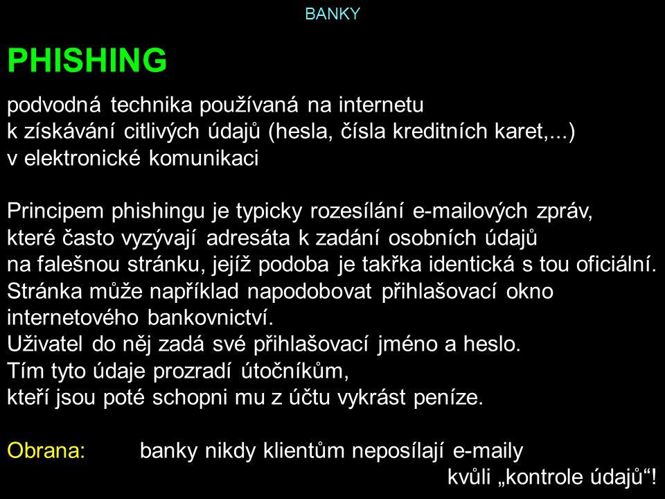 PHISHING podvodná technika používaná na internetu