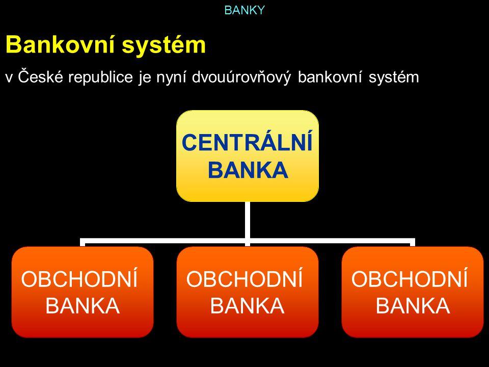 Bankovní systém v České republice je nyní dvouúrovňový bankovní systém