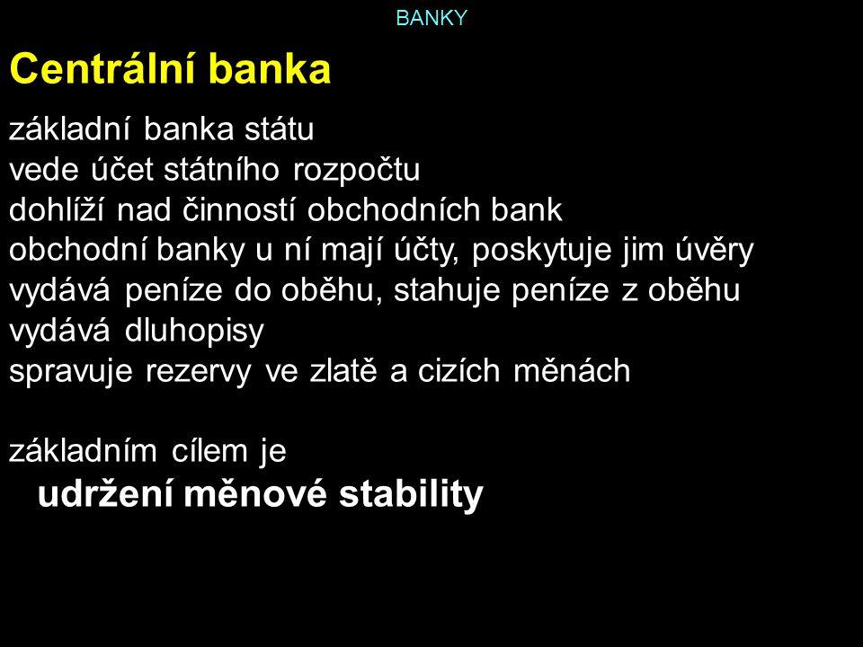 Centrální banka základní banka státu vede účet státního rozpočtu