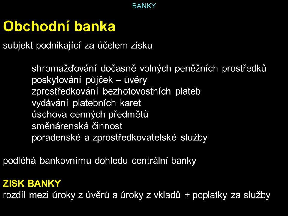 Obchodní banka subjekt podnikající za účelem zisku