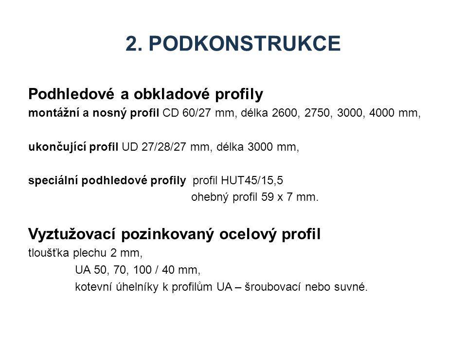 2. Podkonstrukce Podhledové a obkladové profily