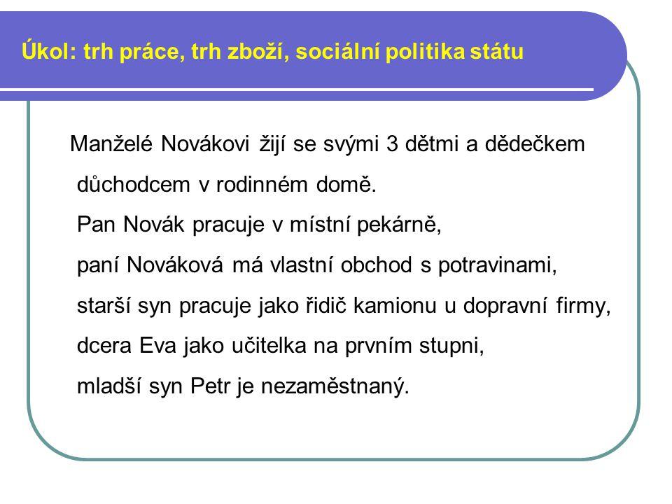Úkol: trh práce, trh zboží, sociální politika státu