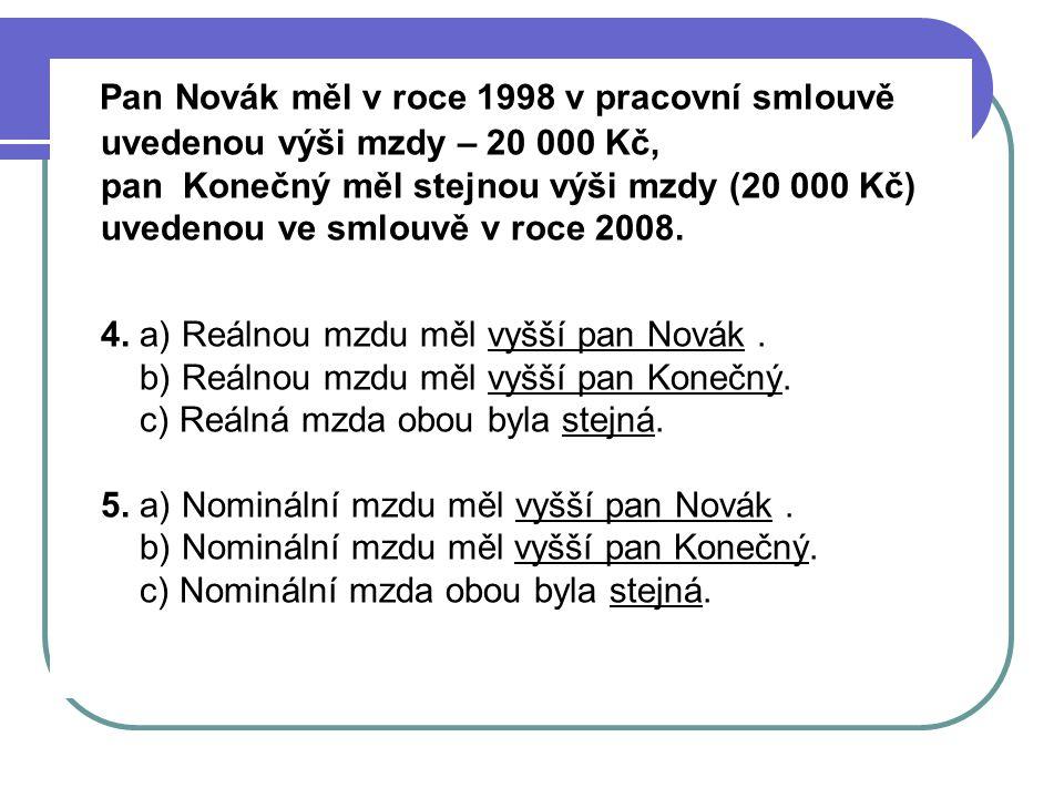 Pan Novák měl v roce 1998 v pracovní smlouvě uvedenou výši mzdy – 20 000 Kč, pan Konečný měl stejnou výši mzdy (20 000 Kč) uvedenou ve smlouvě v roce 2008.