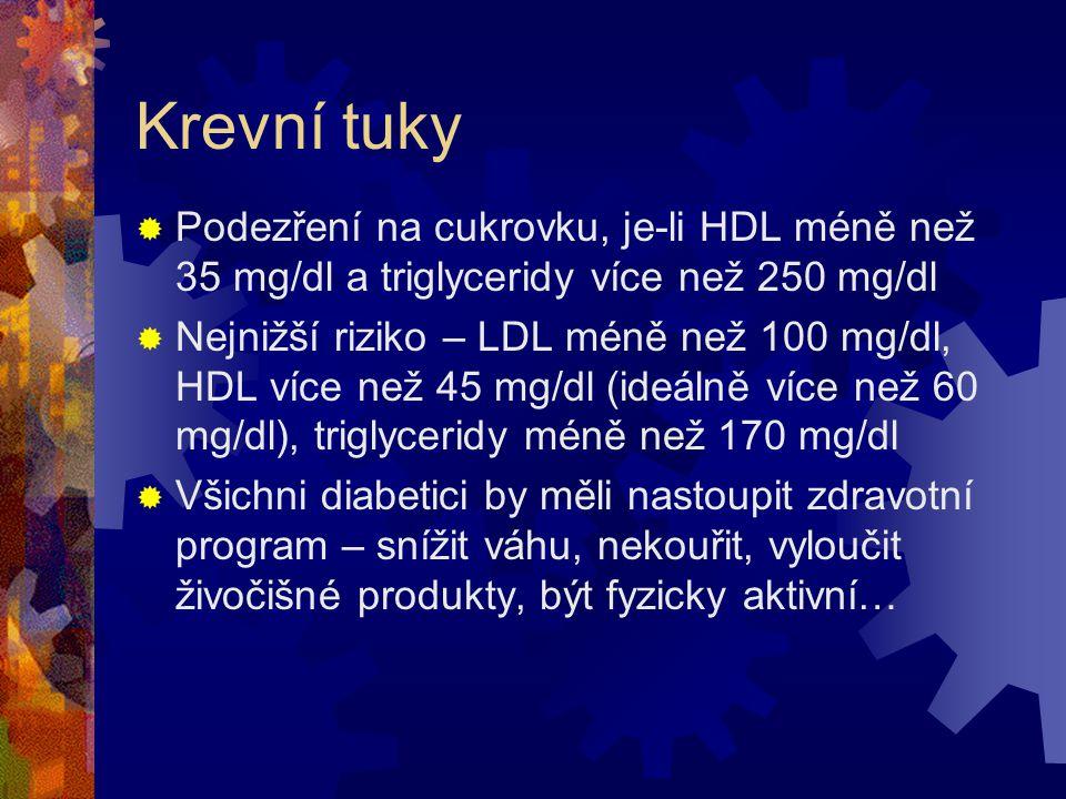 Krevní tuky Podezření na cukrovku, je-li HDL méně než 35 mg/dl a triglyceridy více než 250 mg/dl.