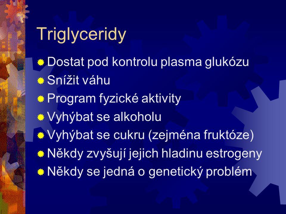 Triglyceridy Dostat pod kontrolu plasma glukózu Snížit váhu
