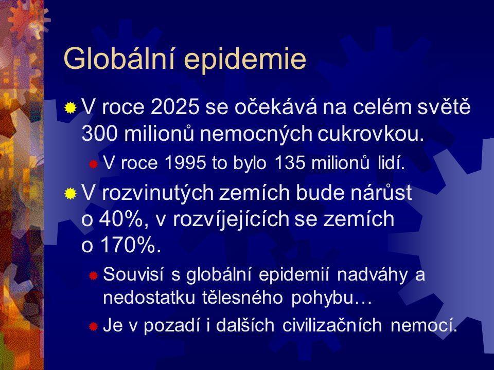 Globální epidemie V roce 2025 se očekává na celém světě 300 milionů nemocných cukrovkou. V roce 1995 to bylo 135 milionů lidí.