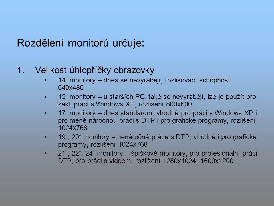 Rozdělení monitorů určuje: