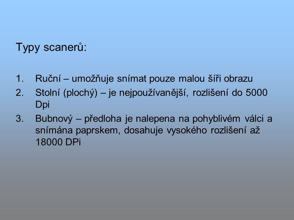 Typy scanerů: Ruční – umožňuje snímat pouze malou šíři obrazu