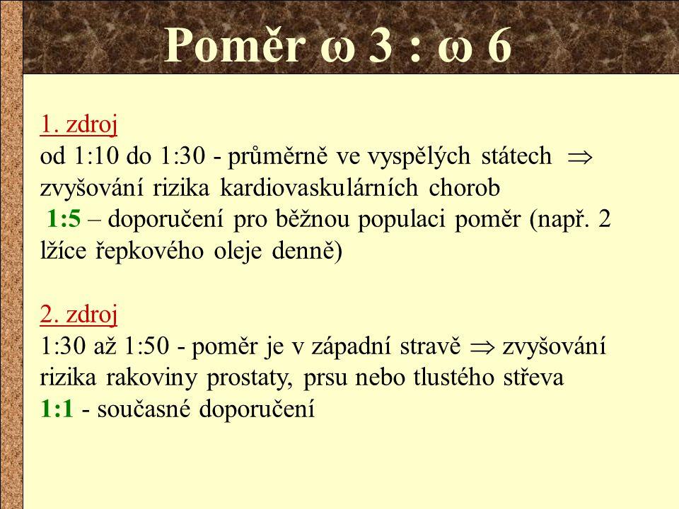 Poměr ω 3 : ω 6 1. zdroj.
