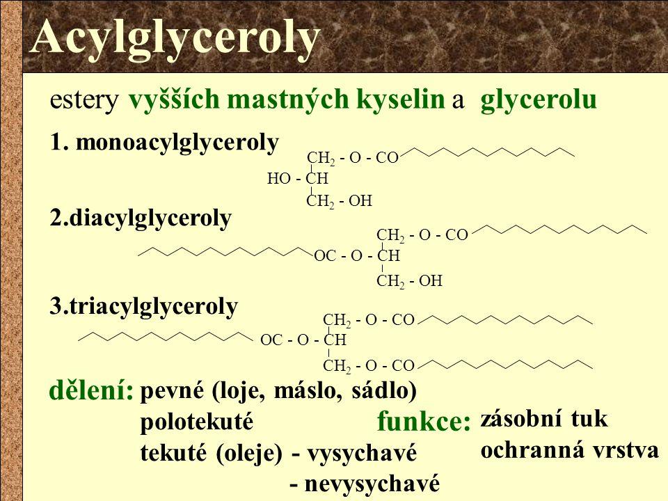 Acylglyceroly estery vyšších mastných kyselin a glycerolu dělení: