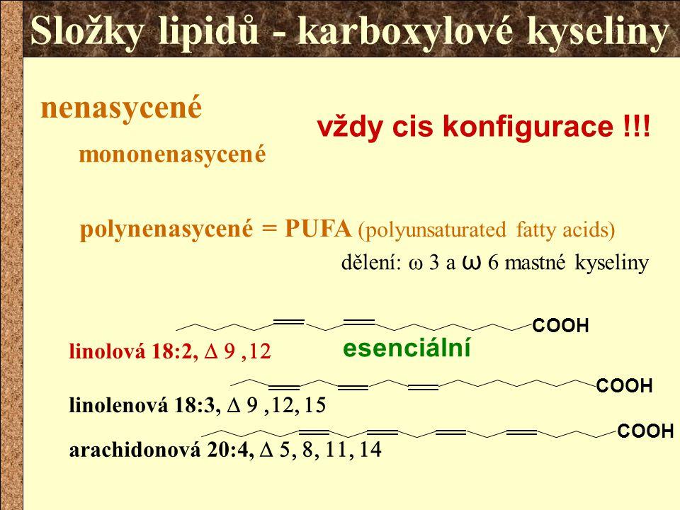 Složky lipidů - karboxylové kyseliny