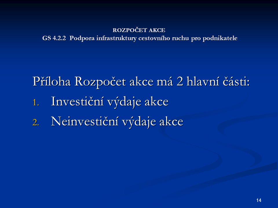 Příloha Rozpočet akce má 2 hlavní části: Investiční výdaje akce