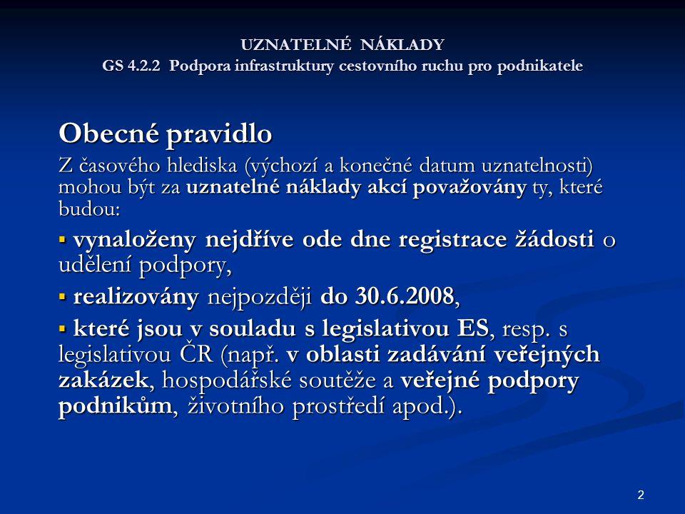 UZNATELNÉ NÁKLADY GS 4.2.2 Podpora infrastruktury cestovního ruchu pro podnikatele