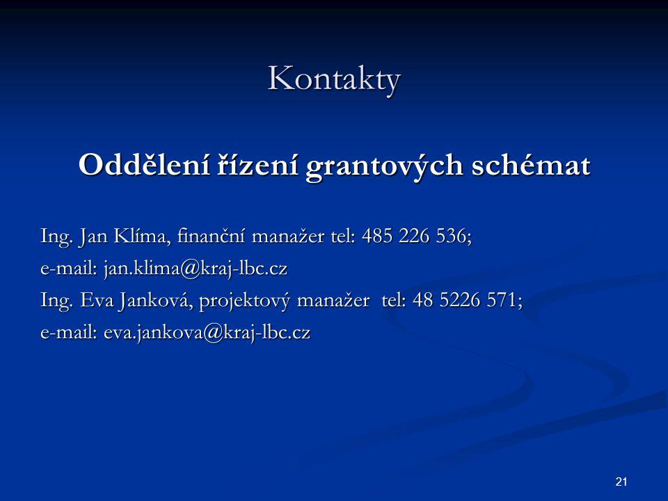 Oddělení řízení grantových schémat