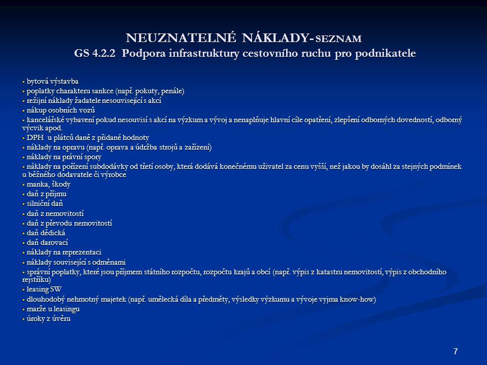 NEUZNATELNÉ NÁKLADY- SEZNAM GS 4. 2