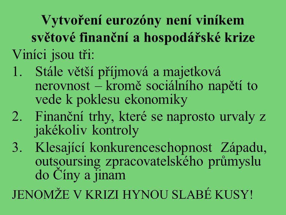 Vytvoření eurozóny není viníkem světové finanční a hospodářské krize