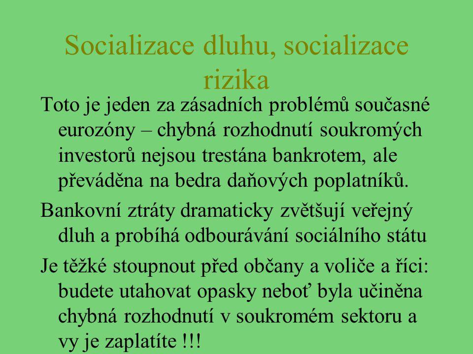 Socializace dluhu, socializace rizika