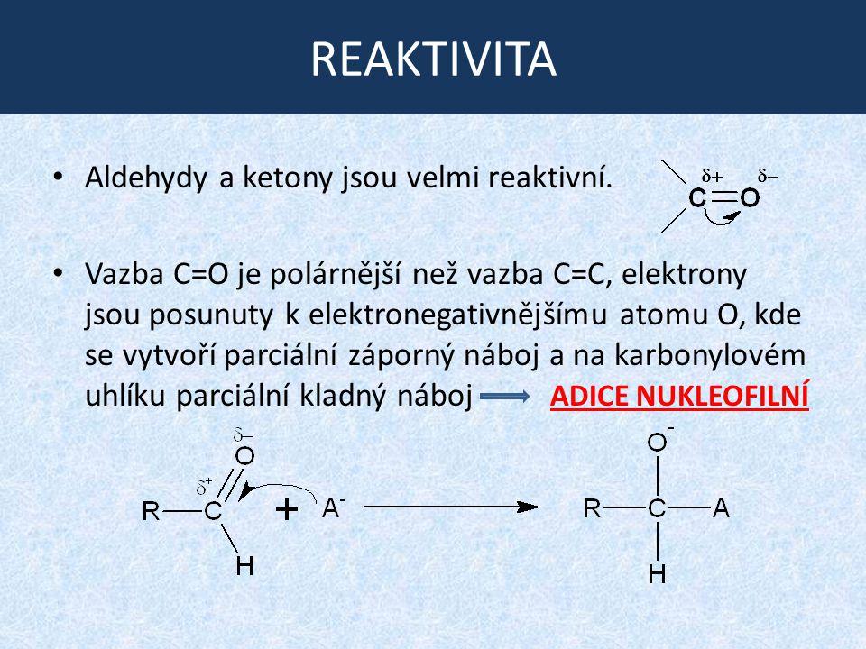 REAKTIVITA Aldehydy a ketony jsou velmi reaktivní.