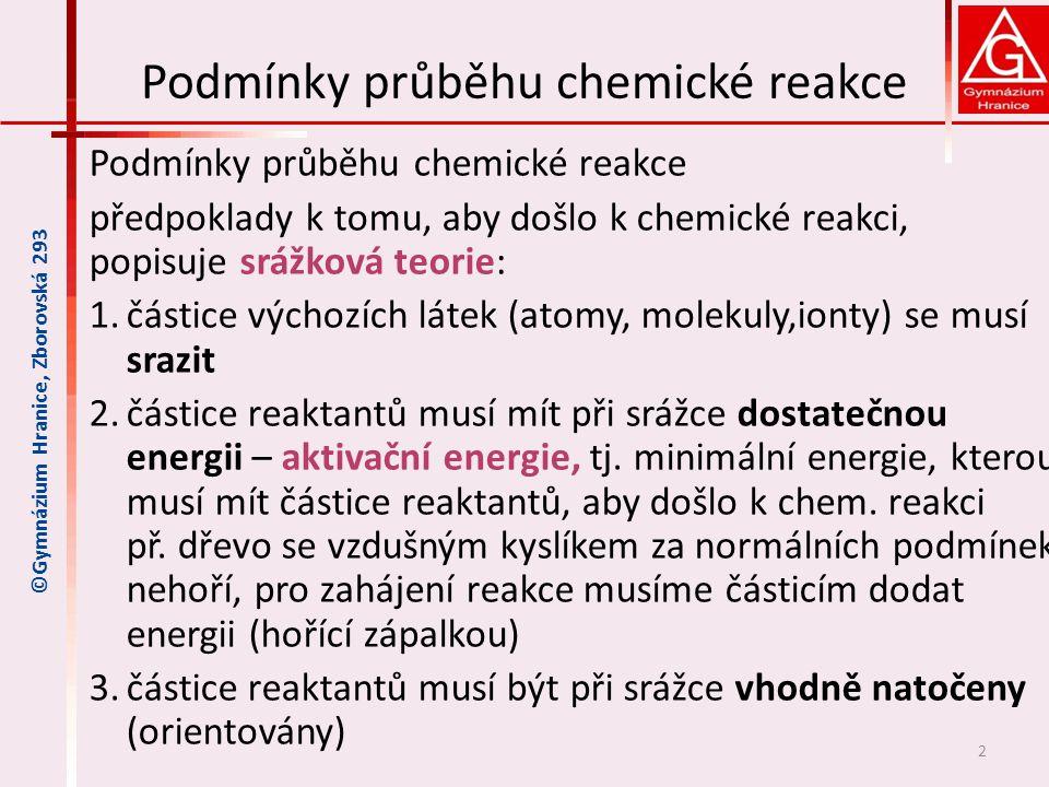 Podmínky průběhu chemické reakce