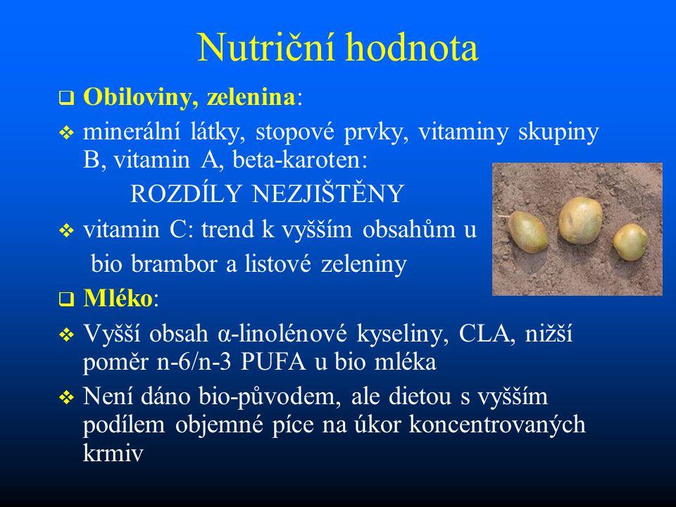 Nutriční hodnota Obiloviny, zelenina: