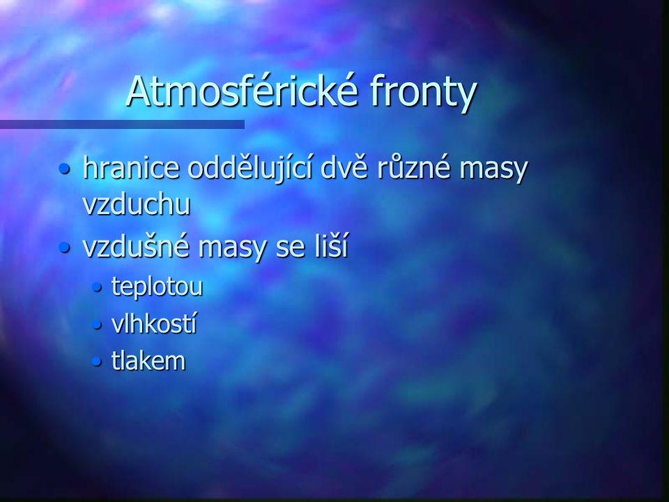 Atmosférické fronty hranice oddělující dvě různé masy vzduchu