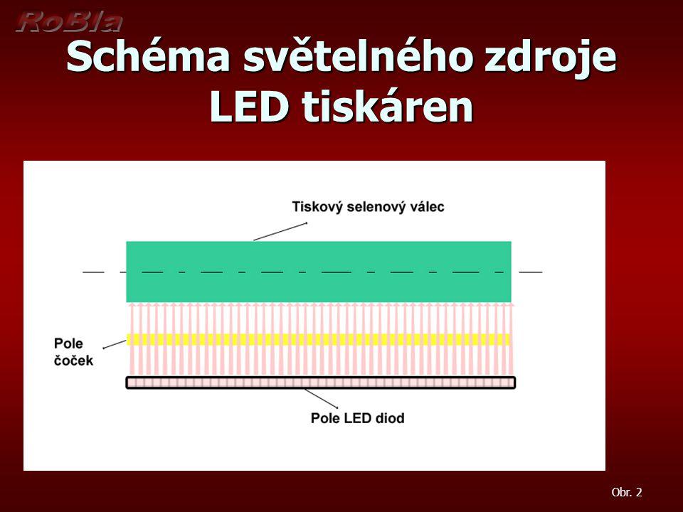 Schéma světelného zdroje LED tiskáren