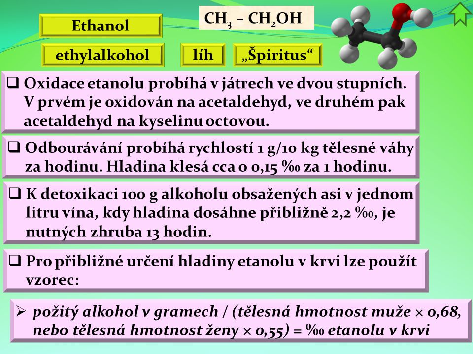 "CH3 – CH2OH Ethanol. ethylalkohol. líh. ""Špiritus"