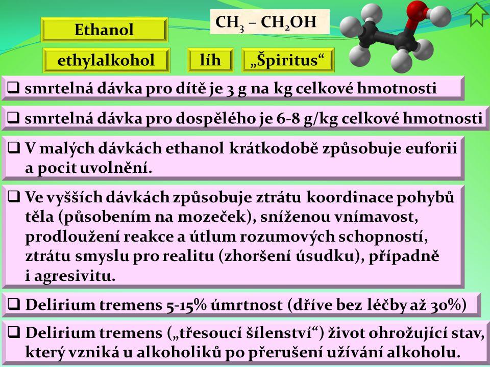 """CH3 – CH2OH Ethanol. ethylalkohol. líh. """"Špiritus smrtelná dávka pro dítě je 3 g na kg celkové hmotnosti."""