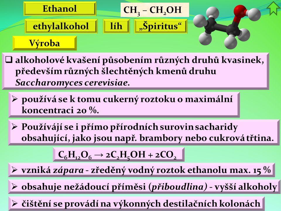 "Ethanol CH3 – CH2OH. ethylalkohol. líh. ""Špiritus Výroba."