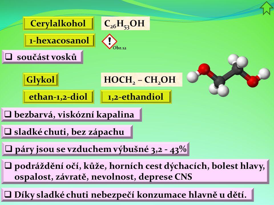 Cerylalkohol 1-hexacosanol Glykol ethan-1,2-diol 1,2-ethandiol