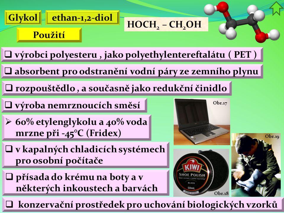 Glykol ethan-1,2-diol Použití