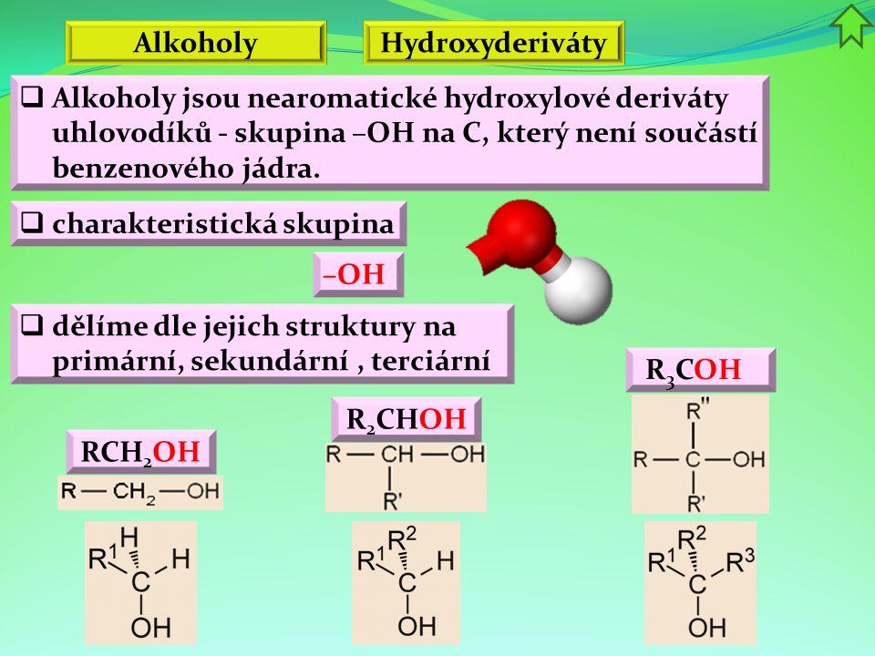 Alkoholy Hydroxyderiváty. Alkoholy jsou nearomatické hydroxylové deriváty uhlovodíků - skupina –OH na C, který není součástí benzenového jádra.