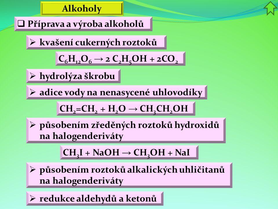Alkoholy Příprava a výroba alkoholů. kvašení cukerných roztoků. C6H12O6 → 2 C2H5OH + 2CO2. hydrolýza škrobu.