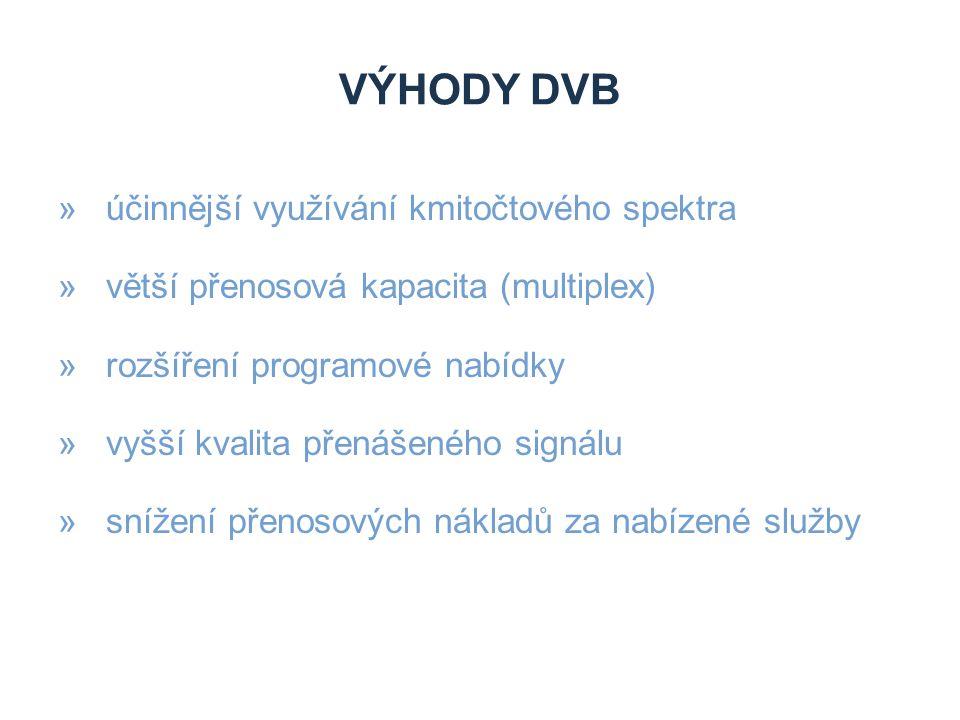 Výhody DVB účinnější využívání kmitočtového spektra