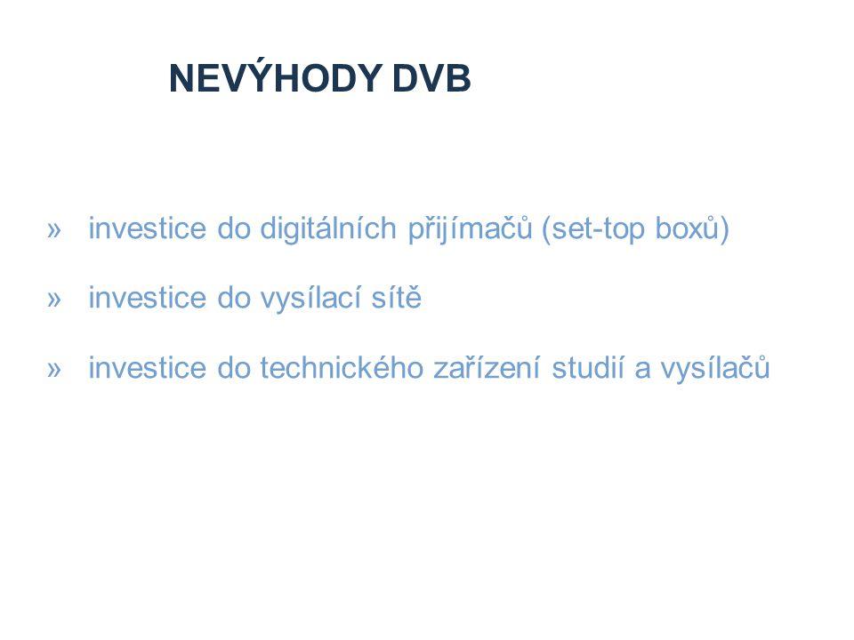 NEVýhody DVB investice do digitálních přijímačů (set-top boxů)