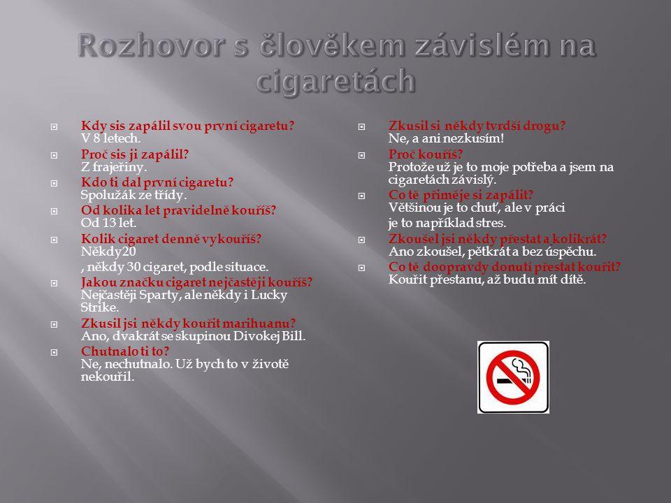 Rozhovor s člověkem závislém na cigaretách