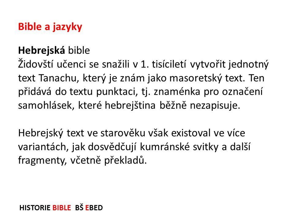 Bible a jazyky Hebrejská bible