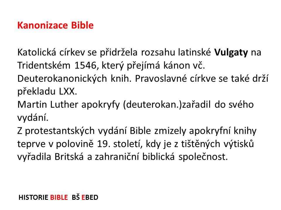 Martin Luther apokryfy (deuterokan.)zařadil do svého vydání.