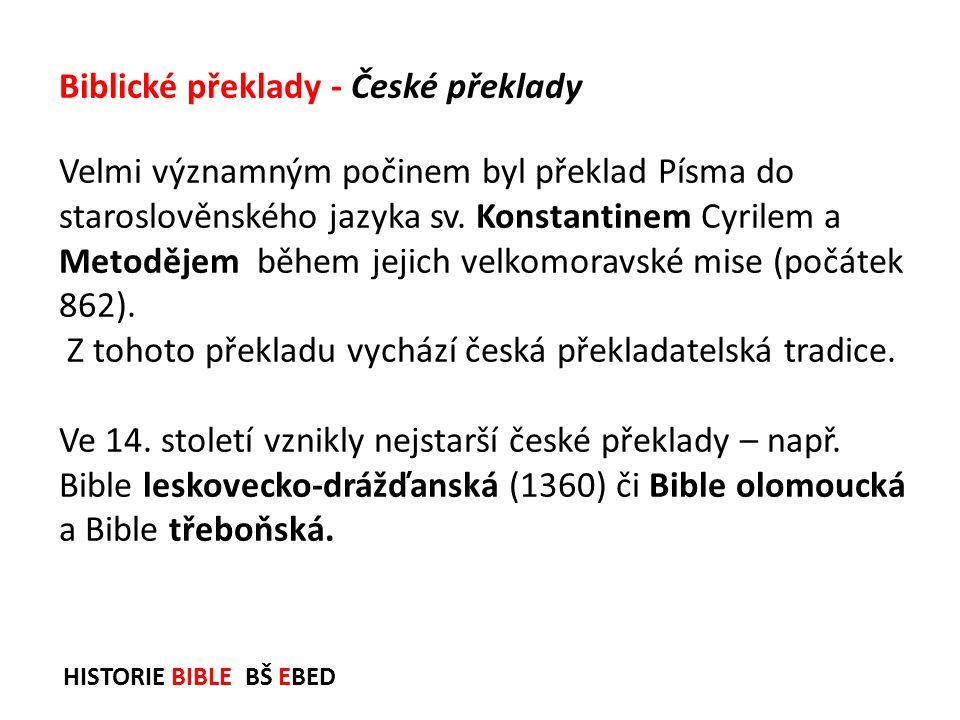Biblické překlady - České překlady