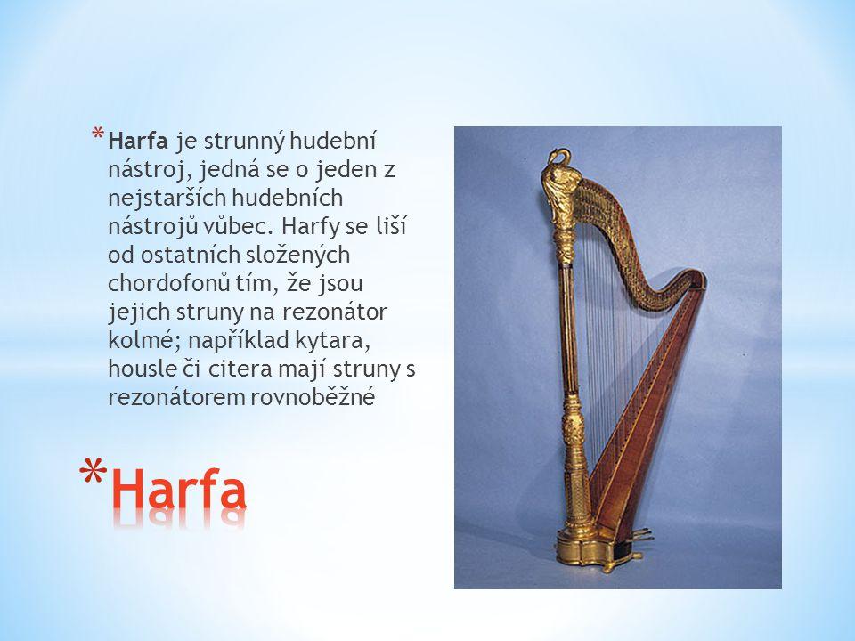 Harfa je strunný hudební nástroj, jedná se o jeden z nejstarších hudebních nástrojů vůbec. Harfy se liší od ostatních složených chordofonů tím, že jsou jejich struny na rezonátor kolmé; například kytara, housle či citera mají struny s rezonátorem rovnoběžné